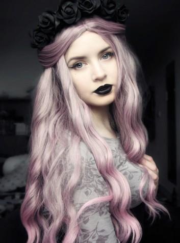 dyed-hair-color-colore-capelli-pastello-makeup-trucco-nero-rossetto-black-lipstick